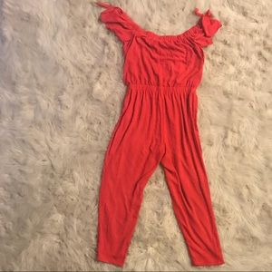 Red express jumpsuit.